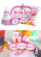 Baby Girl Cartoon birthday party set,event decorations cup/greeting card/hats/plate/knife/table cloth Free shipping