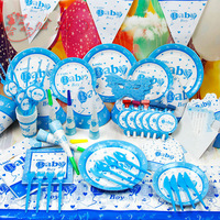 Baby Boy Cartoon birthday party set,event decorations cup/greeting card/hats/plate/knife/table cloth Free shipping