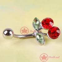 RedLeaf Pretty Rhinestone Red Cherry Navel Belly Button Barbell Ring Body Piercing Worldwide free shipping