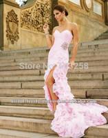 DCD136 2014 Luxury Off Shoulder Sweetheart Pink Flowers Evening Dress Long Back Short Front Party Dresses