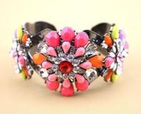 hot sale2014 new design fashion shourouk style jewelry lovely flower crystal cuff bracelet bangle for women