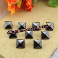 100pcs/lot 15mm Gun-black Studs Punk Rivet Clothing Nickel Pyramid Studs Metal Claws Deco.DIY Accessory Free Shipping