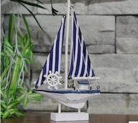 Mediterranean style ornaments American single sail ship model sailboat furnishings partition striped ornaments study