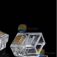 PriceStar 50PCS Durable 4 Pin RJ11 RJ-11 6P4C Modular Plug Telephone Phone Connector Hot Worldwide free shipping