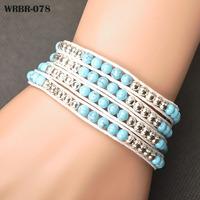 Free Shipping New Charm Bracelet Handmade Leather Bracelet 4 Rows Bracelet 6mm Crystal Beads Leather Wrap Bracelets WRBR-078