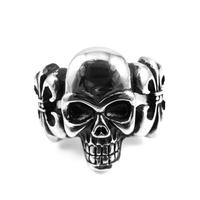 Men's Rocker Titanium Men's Skull Crown Ghost Wide Ring