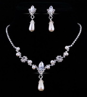 W27960H01 Fashion Alloy Rhinestone Necklace Earring Set,Rhinestone Wedding Jewelry Set Free Shipping