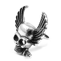 Men's Rocker ANGEL BIRD WING SKULL Stainless Steel GOTHIC RING
