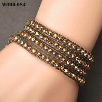 Free Shipping New Charm Bracelet Handmade Leather Bracelet 4 Rows Bracelet 6mm Crystal Beads Leather Wrap Bracelets WRBR-084