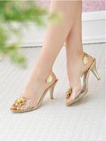 New summer sandals stiletto shoes transparent