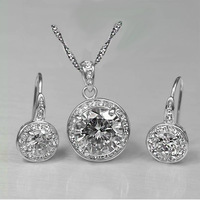 Wholesale Set Fashion White Gold Plate Valentine's Day Gift CZ Stone Party Women Jewelry Sets Free Shipping
