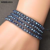 Free Shipping 2014 New Charm Bracelet DIY Leather Bracelet 4 Rows Bracelet 6mm Crystal Beads Leather Wrap Bracelets WRBR-088