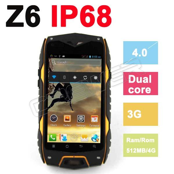 "Original ZEEP Z6 Waterproof Phone 4.0""IP68 Screen Cellphone 3G GPS MTK6572 Dual Core 1.2GHZ 512MB 4GB 5MP Dustproof Shockproof(China (Mainland))"