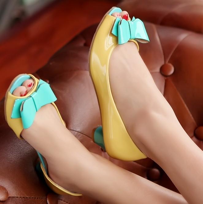 ENMAYER new 2014 Fashion Sweet bow sandals for women Summer Shoes Women Platform Sandals women girls shoes big size 34-43(China (Mainland))