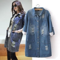 SX246 2014 spring new women clothing long section of the hole jackets Sleeve denim jeans coat for women tops plus size