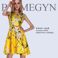 Free shipping Hot sale! 2014 runway dress women's high quality dresses print dress plus size women dresses vestido de festa