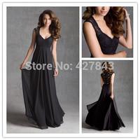 Sweetheart Chiffon Floor Length Long Black Top Lace Sheer Back Cap Sleeves Bridesmaid Dress 2014 Maid of Honor Dress