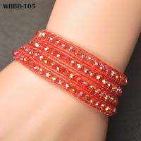 Wholesale Price Gift For Women DIY Leather Bracelet 4 Rows Bracelet 6mm Crystal Beads Leather Wrap Bracelets WRBR-105