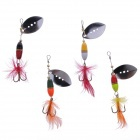Metal Style Fishing Bait / Lure w/ Feather - Multicolored (4 PCS)