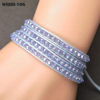 Wholesale Price Gift For Women DIY Leather Bracelet 4 Rows Bracelet 6mm Crystal Beads Leather Wrap Bracelets WRBR-106