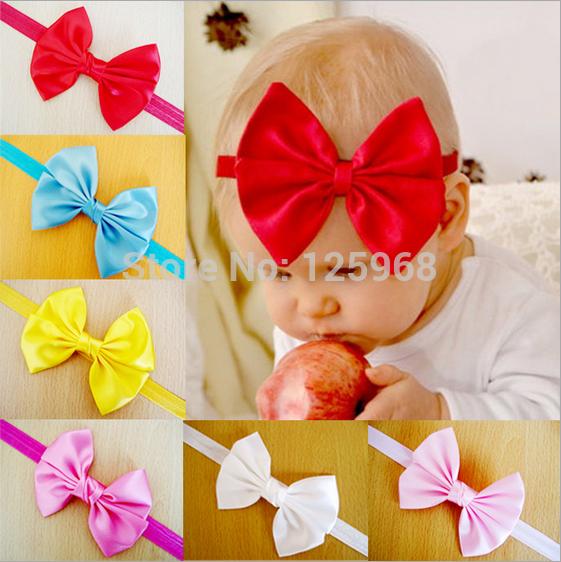 Free Shipping!2014 New 30Pcs/Lot Satin Bowknot Headbands Elastic head bands Babys/Kid's Hairbands Baby Hair Accessories(China (Mainland))