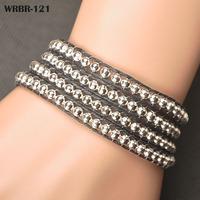 HOT sale Gift For Women DIY Leather WrapBracelet 4 Rows Bracelet 6mm Crystal Beads  Bracelets WRBR-121