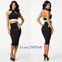 New Fashion 2pcs Separate Bandage Dress Women Sexy Bodycon Celebrity Party Dress OL Office Lady Elegant Pencil Dress 0091