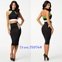 New Fashion 2pcs Separate Bandage Dress Women Sexy Bodycon Celebrity Party Dress OL Office Lady Elegant Pencil Dress 0091