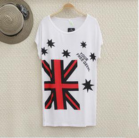 New arrival 2014 women t-shirt  vestidos college white print plus size desigual womens tops fashion 2014 summer rock shirts W073