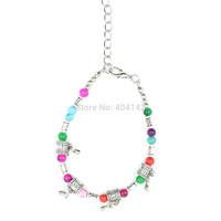 1 PCS Antique Silver Plated Multicolor Glass Beads Drop Charm Bracelet Vogue Elegant Vintage Jewelry Length Adjustable