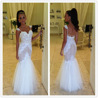 Vestidos De Novia Sweetheart Slim Straps Lace Mermaid Wedding Dress 2014 Applique Berta Bridal Gown 2014 Cheap Custom made