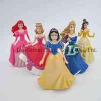 Free Shipping Cute shiny Princess Ariel Cinderella Snow white Belle PVC 5pcs/set Action Figure Toy