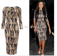 New Arrival Star Style Lepoard Print Dress Slim Sexy Dress Plus Size Pencil Dress Wholesale CL680