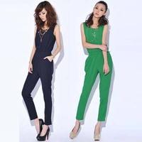 Fashion Summer Women Casual Jumpsuits.Short Sleeve black Jumpsuit.size M,L,XL lady Rompers js1035
