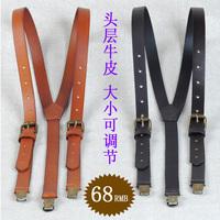 Cowhide suspenders genuine leather strap unisex  suspenders cowhide spaghetti strap first layer of cowhide suspenders
