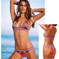 Real Images! Printing Fast Free Shipping Victoria In Stock Push Up Sexy Halter Colorful Bohemia Swimwear Bikini