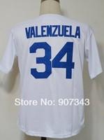 #34 Fernando Valenzuela Jersey,Throwback Baseball Jersey,Best quality,Embroidery logos,Authentic Jersey,Size M--3XL,Mix Order