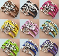 Wholesales 2014 Jewelry for women Double Heart Charms Justin Biber Leather Wrap Bracelets