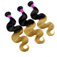 Free shipping queen hair products 1b/30 8-20 inch Brazilian Virgin Hair Body Wave 2 Tone Ombre  Hair Extensions for sale