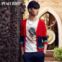 Peacebird men's new spring men's fashion cardigan / sweaters splicing hit color tide B2ED3110710
