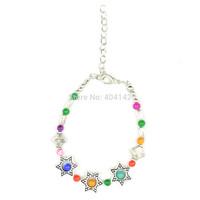 1 PCS Antique Silver Plated Multicolor Glass Beads Stars Charm Bracelet Vogue Elegant Vintage Jewelry Length Adjustable