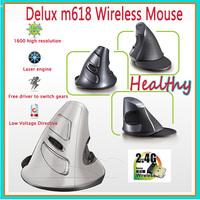 Delux Healthy wireless 2.4Ghz M618Lu  M618GL Ergonomics vertical mouse Precision Laser Mouse For PC computer laptop