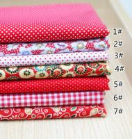 49CMx49CM 7pcs/lot red series neadend cloth Fat Quarters Cotton Fabric Patchwork Tilda Scrapbooking Fabric for Sewing