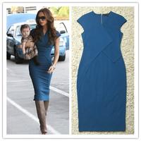 Elegant new 2014 plus size victoria beckham dress V neck blue orange bodycon midi dress evening dresses kate middleton dress