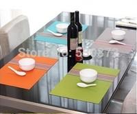 Hot! 4 pcs/lot home decoration Fashion PVC colorful  heat pad / mat / picnic mat  rainbow stripe Place mats retail +wholesale