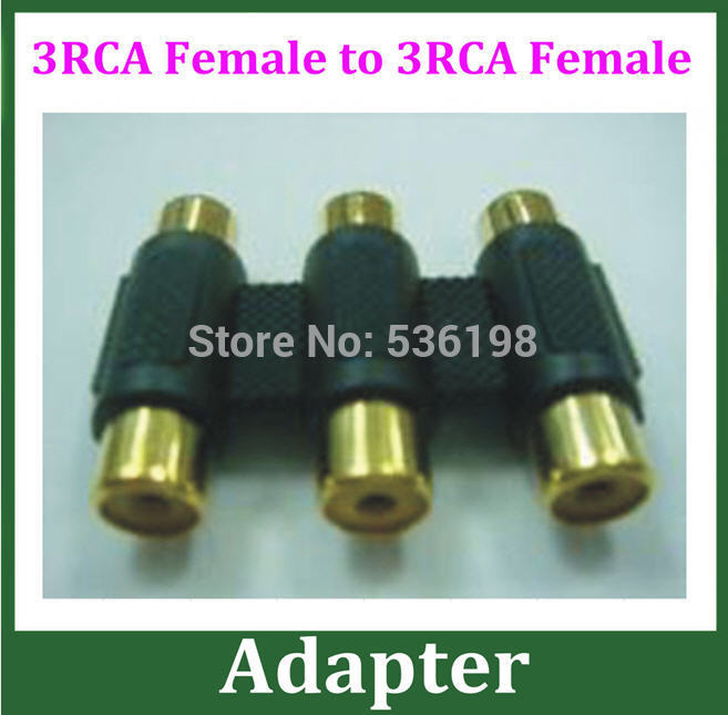 200pcs Gold Color 3RCA Connector 3RCA Female to 3RCA Female Adapter Extender Converter for AV Audio Video DHL(China (Mainland))
