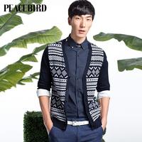 Peacebird spring 2014 new men's fashion cardigan sweater knit stitching tide / / B1ED3161650