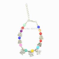 1 PCS Antique Silver Plated Multicolor Glass Beads Butterfly Charm Bracelet Vogue Elegant Vintage Jewelry Length Adjustable