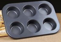 6 Cavities Stainless Steel Non-stick Baking Tray Muffin Pan Cupcake Pans