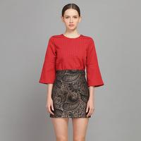 YIGELILA 820 Latest Europe Style Three Quarter Flare Sleeve O-Neck Women Skirt Suit 2 Pieces Sets Free Shipping